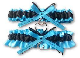 personalized horseshoe set wedding garter set personalized beautiful black and turquoise