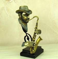 reminiscent pub saxophone player bust handmade resin