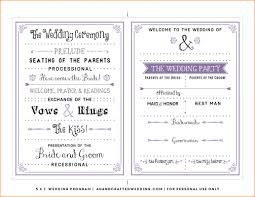 sle of wedding program free wedding program template word template business