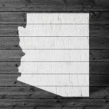 Arizona State Map by Map Of Arizona State Outline White Distressed Paint On Reclaimed