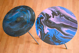 used ceramic pouring table galaxy print paint pour on a glass table chica and jo