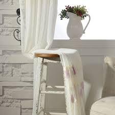 Cheap Cute Curtains Cheap Green Tree Embroidery Pastoral White Sheer Curtains