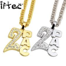 aliexpress crystal necklace images Men women gold color 2pac pendants bling christmas jewelry gifts jpg