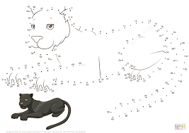 panther dot to dot free printable coloring pages