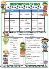 image result for prepositions of time first grade worksheets