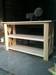 diy rustic x base console table the chronicles of home