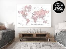 Map With Labels Custom Quote Watercolor Printable World Map With Cities