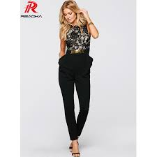 jumpsuit womens reaqka rompers womens jumpsuit 2017 summer black lace splicing