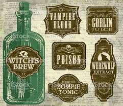 free printable halloween labels set of halloween printable green and brown labels with bottle