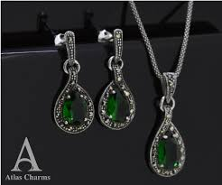 silver earrings necklace images Sets marcasite green emerald sterling silver earrings necklace jpg