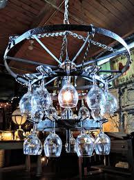 Chandelier Wine Glass Furniture Antique Wine Glass Wagonwheel Chandelier With Wooden