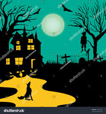 spooky house halloween spooky vintage halloween poster banner background stock vector