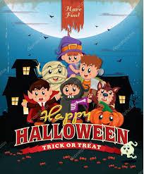 vintage halloween poster design with kids in costume u2014 stock