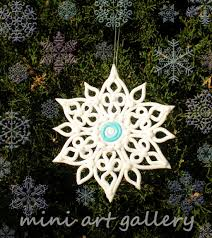 snowflake ornament handmade polymer clay by