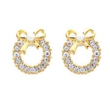 gold plated earrings rhinestone wreath bowknot pearl stud earrings gold plated earrings