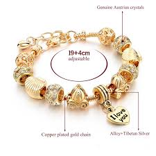 crystal heart charm bracelet images Gold heart charm crystal bracelet jpg