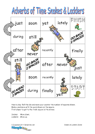adverb lessons adverbs of time snakes ladders for ells esl parts of