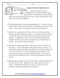 math problems for grade 4 grade 8 word problems set 4