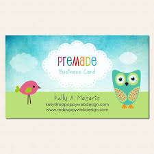 owl and bird watercolor business card