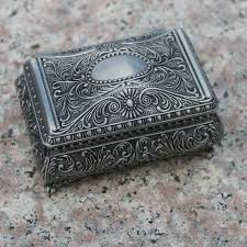 engraved box free shipping pewter plated flower engraved metal jewellery box