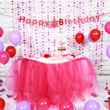 Sunbeauty Set Pink Theme Happy Birthday Decoration DIY Kids Party