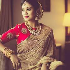 wedding blouses gold jewelry silk sari and blouse and fresh jasmines in hair a