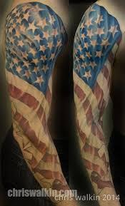 chris walkin lake charles louisiana tattoo american flag arm