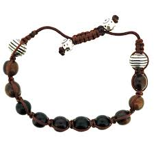 macrame bracelet with beads images Brown macrame bracelet with wood sterling beads his world jpg