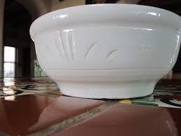 lees pottery inc paramount ca white pottery fruit bowl vintage