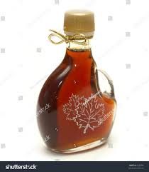 ribbon syrup small bottle maple syrup maple leaves stock photo 4426096