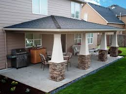 exterior covered patio ideas with curved roof and concrete