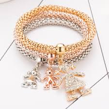 child charm bracelet images 3pcs girls charm bracelets bangles gold silver plated friendship jpg