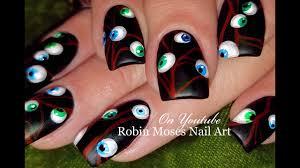 easy halloween nails eyeballs 3d with gel nail art design