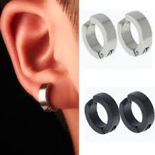 ear hoop non piercing clip on men boy ear stud cuff hoop earrings