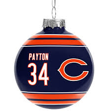 chicago bears walter payton retired player glass ornament