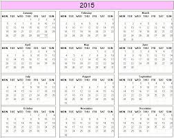 printable calendar year 2015 yearly 2015 printable calendar color week starts on monday