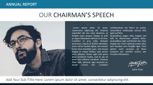 annual report ppt template our chairman message powerpoint template slidemodel