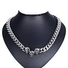 stainless steel choker necklace images Men 39 s vintage large heavy punk skull chokers necklaces in jpg