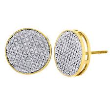mens earings 10k yellow gold cut diamond large circle pave stud 14mm mens