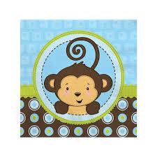 blue monkey boy baby shower beverage napkins 16 ct
