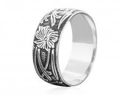 boho wedding ring silver patterned floral ring boho wedding ring stacking band