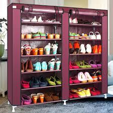 6 tier covered shoes rack diy storage shelf tidy organizer cabinet