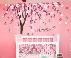 Personalized Wall Decals For Nursery Plum Flower Blossom Tree Butterfly Personalized Custom Name Wall
