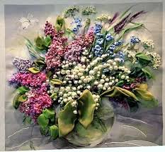 silk ribbon embroidery lilac and of the valley silk ribbon embroidery beautiful