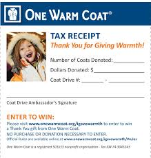 501 C 3 Donation Receipt Tax Receipt For One Warm Coat Donations For Coat And Dollar Donors