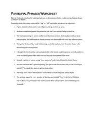 participial phrase worksheet worksheets releaseboard free