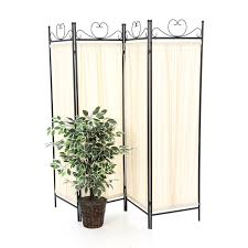 Metal Room Dividers by Black Metal 4 Panel Room Divider With Off White Fabric Screen