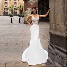 lace top wedding dress sheer v neck embroider lace top white satin mermaid wedding dress