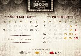 2017 howl o scream event calendar busch gardens williamsburg