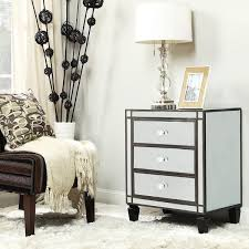 3 drawer accent table escanaba mirrored 3 drawer black trim accent table by inspire q bold